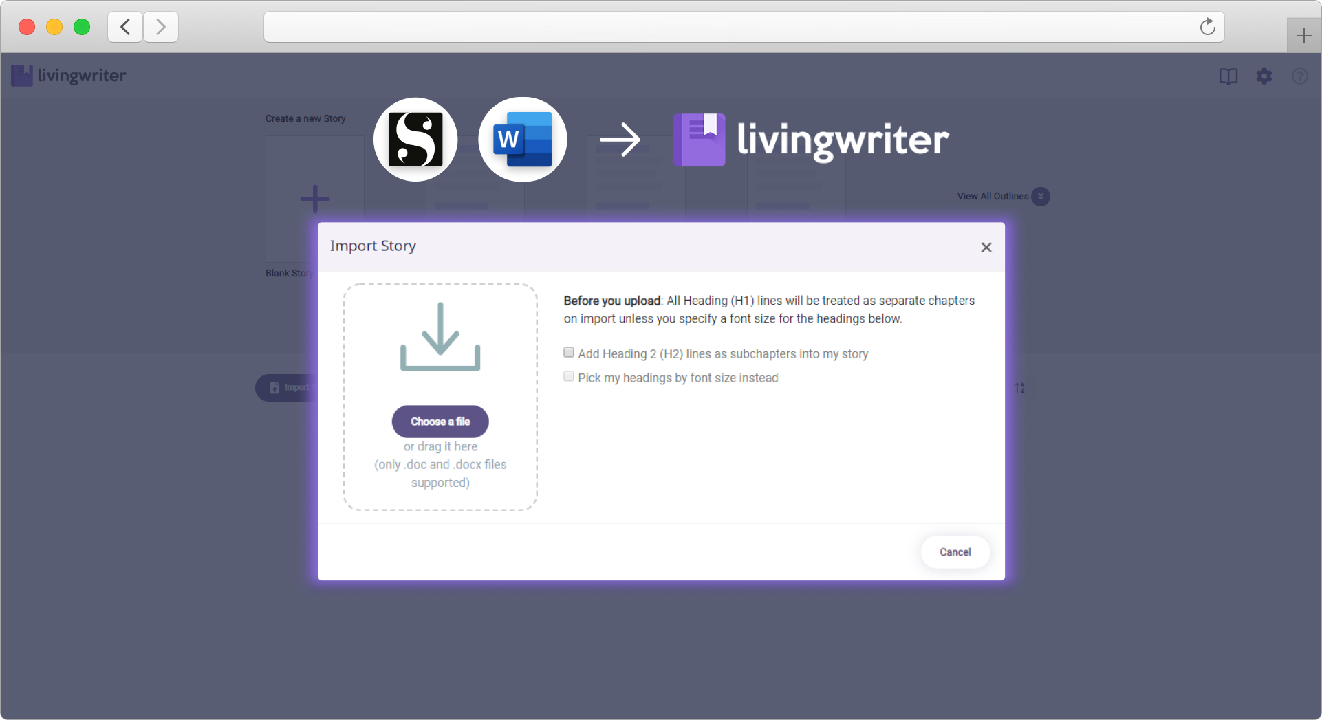 livingwriter-novel-writing-app-import